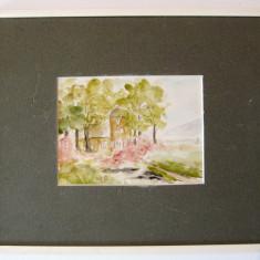 Peisaj cu conac tablou pictat in acuarela - Tablou autor neidentificat, Peisaje, Realism