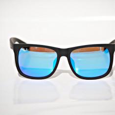 Ochelari de soare Ray Ban RB4165 Justin 622/55 albastru oglinda, Barbati, Dreptunghiulari, Plastic, Protectie UV 100%