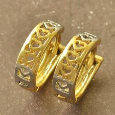 Superbi cercei 9K gold filled cu inimioare - Cercei placati cu aur