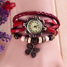 Ceas Vintage dama cu pandativ - Ceas dama, Fashion, Quartz, Piele ecologica, Analog, Diametru carcasa: 26