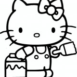 Sticker Hello Kitty 1.3, 34x36 cm, autocolant decorativ pentru perete