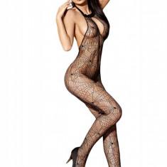 BS251-1 Bodystocking sexy din plasa model panza de paianjen, cu spatele gol - Lenjerie sexy dama, Marime: S/M, Negru