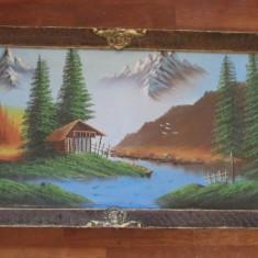 TABLOU-PEISAJ CU CABANA-acrilic pe panza, rama lemn - Tablou autor neidentificat, Peisaje, Altul