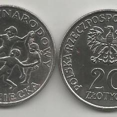 POLONIA 20 ZLOTI 1979 ANUL INTERNATIONAL AL COPILULUI [1] a UNC in cartonas, Europa, Cupru-Nichel