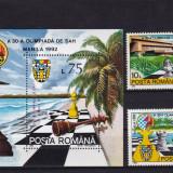 ROMANIA 1992, LP 1286, LP 1287, OLIMPIADA DE SAH MANILA SERIE SI COLITA MNH - Timbre Romania, Nestampilat