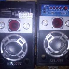 Boxe audio active karaoke cu microfon cu card si usb set 2 bucati - Echipament karaoke