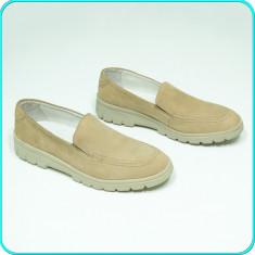 DE CALITATE _ Pantofi DIN PIELE, comozi si fiabili, ACO LIGHT _ baieti | nr. 37 - Pantofi copii, Culoare: Bej, Piele naturala
