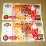 Lot Set 2 buc - 50 kwacha 2008 ZAMBIA UNC consecutive - 2+1 gratis - RBK18421