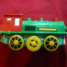 Jucarie-Locomotiva aburi firma Maxim Enterprise Inc ,China ,L= 11 cm ,cu baterii, Locomotive