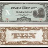 !!! FILIPINE - 10 PESOS (1942) - P 108 b - UNC / OCUPATIA JAPONEZA - bancnota asia