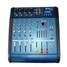 Mixer audio cu amplificare WG-4D USB cu putere de 2 x 100 W,4 canale