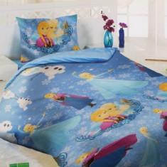 Lenjerii de pat copii Elsa si Anna bleu - Lenjerie pat copii Altele, Alte dimensiuni, Multicolor