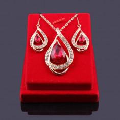 Set Aur- Rosu - Filigran 18k - Safire Austria Cristal - Femei/Elegant/Safire - Set bijuterii placate cu aur