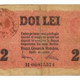ROMANIA 2 LEI BGR 1917 STAMPILA U - Bancnota romaneasca
