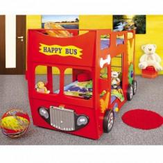 Pat etajat masina Happy Bus rosu - Pat supraetajat pentru copii Baby-Italia, Alte dimensiuni, Altele
