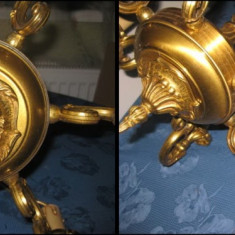 Candelabru vechi 6 brate in bronz masiv aurit stil Baroc Franta.