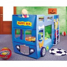 Pat etajat masina Happy Bus albastru - Pat supraetajat pentru copii Baby-Italia, Alte dimensiuni, Altele