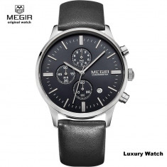 Ceas Original MEGIR Luxury Cronograph cu Mecanism JAPONEZ Nou - Ceas barbatesc Citizen, Elegant, Quartz, Inox, Piele, Cronograf