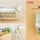 12W E14 Bec LED tip Corn Alb Cald 36 LED`s SMD5730 AL350