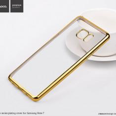 Husa SLIM Hoco, SAMSUNG NOTE 7, gel TPU, transparenta cu rama GOLD (nu piele) - Husa Telefon Hoco, Auriu