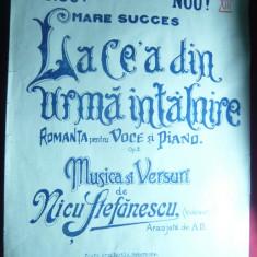 Partitura Nicu Stefanescu -La cea din urma intalnire -Ed.M.Lentzer, interbelica