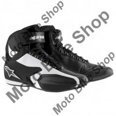 MBS Ghete moto Alpinestars Faster, negru-alb, 12=45.5, Cod Produs: 25102141212AU - Cizme barbati