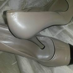 Pantofi ZARA, din piele naturala, culoare sidefata - Pantof dama Zara, Culoare: Din imagine, Marime: 37