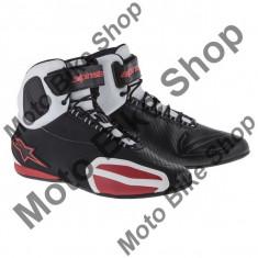 MBS Ghete moto Alpinestars Faster, negru-alb-rosu, 12.5=46, Cod Produs: 2510214123125AU - Cizme barbati