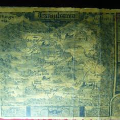Harta veche Transilvania -Copie pe hartie speciala, stampile rosii comerciale - Harta Romaniei