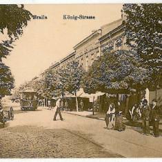 1882 - BRAILA, Regala street, tramway - old postcard, CENSOR - used - 1918 - Carte Postala Muntenia 1904-1918, Circulata, Printata