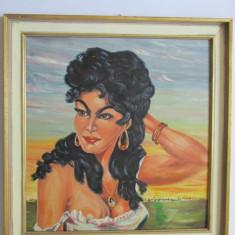 TABLOU-TIGANCA-inramat, ulei pe placaj, vintage - Tablou autor neidentificat, Portrete, Realism