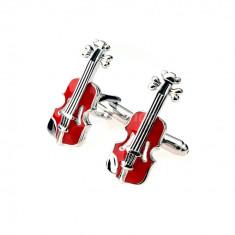 Butoni camasa tema muzicala model VIOARA RED violin + ambalaj cadou