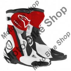 MBS Cizme Alpinestars Racing SMX PLUS, negru-rosu-alb, 43, Cod Produs: 222101513243AU - Cizme barbati