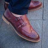 Pantofi din piele double strap monk. Cod MONK 2. Disponibili pe maro si visiniu - Pantof barbat, Marime: 39, 40, 41, 42, 43, 44, Piele naturala
