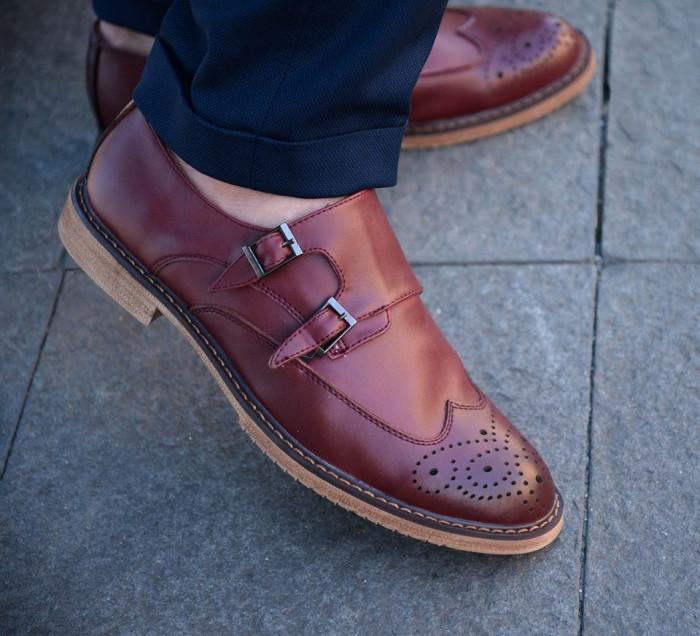 Pantofi din piele double strap monk. Cod MONK 2. Disponibili pe maro si visiniu foto mare