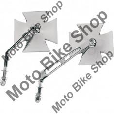MBS Oglinda cromata Cruce Maltese, SX/DX, brat rotund, Cod Produs: 19016060PE - Oglinzi Moto