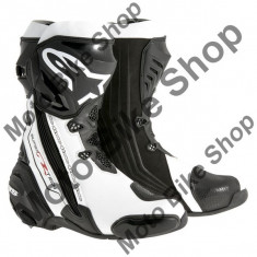 MBS Cizme Alpinestars Racing Supertech R New, negru-alb, 43, Cod Produs: 22200151243AU - Cizme barbati