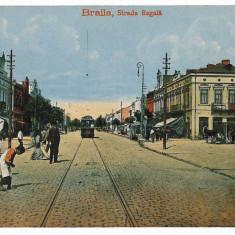 2157 - BRAILA, Regala street, tramway - old postcard, CENSOR - used - 1918 - Carte Postala Muntenia 1904-1918, Circulata, Printata