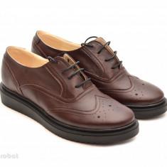 Pantofi dama maro casual-eleganti din piele naturala Oxford Brown cod P60M - Pantof dama, Marime: 35, 36, 37, 38, 39, 40, Cu talpa joasa