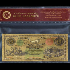 100 DOLARI 1874 S.U.A. - BANCNOTA POLYMER AURIT CU AUR 24K - bancnota america