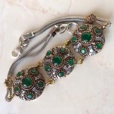 Bratara argint 925 cu Smarald - 22, 14 g, Femei