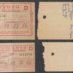 CFL 1952 ROMANIA 2 bilete loterie LOTO D de 1 leu si 20 lei, Romania de la 1950