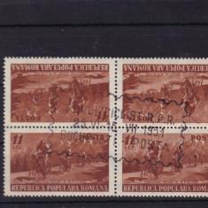 ROMANIA 1951 LP 281a CIRCUIT CICLIST BLOC DE 4 PRIMA ZI TETE-BECHE - Timbre Romania, Stampilat