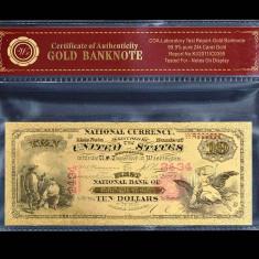 10 DOLARI 1875 S.U.A. - BANCNOTA POLYMER AURIT CU AUR 24K - bancnota america
