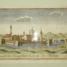 Ansicht der hauptstadt Yassy in der Moldau, Vedere din Iasi capitala Moldovei - Harta Romaniei