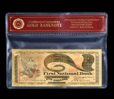 2 DOLARI 1875 S.U.A. - BANCNOTA POLYMER (PLASTIC) PLACATA CU AUR 24K