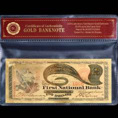 2 DOLARI 1875 S.U.A. - BANCNOTA POLYMER AURIT CU AUR 24K - bancnota america