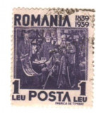 SV * Romania  1  LEU  1939 * CENTENARUL URCARII PE TRON A REGELUI CAROL I - 1839, Regi, Stampilat