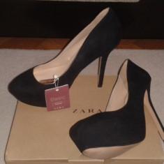 Pantofi Zara noi - marime 37 - Pantof dama Zara, Culoare: Negru