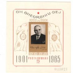 SV * Romania 5 LEI GHEORGHE GHEORGHIU-DEJ (1901-) 1965 colita nedantelata - Timbru Romania dupa 1900, Oameni, Nestampilat